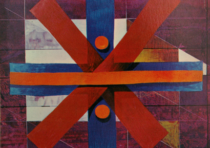 Painting by Barry Evans, seventies abstract, 70s graphic painting, math.