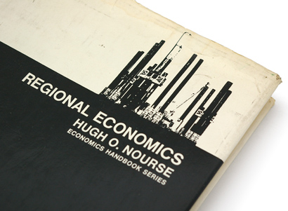 stat cam, factory, helvetica, all-caps type, book cover, 60s design, sixties graphics, black and white, economics book.