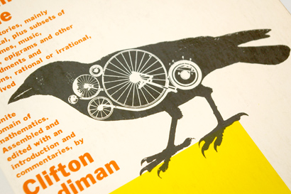 magpie, crow, detail, mechanical bird, milton glaser, 60s graphic design, sixties typography, book design, cover layout, bird, gears, overprint, simon and schuster, 1962