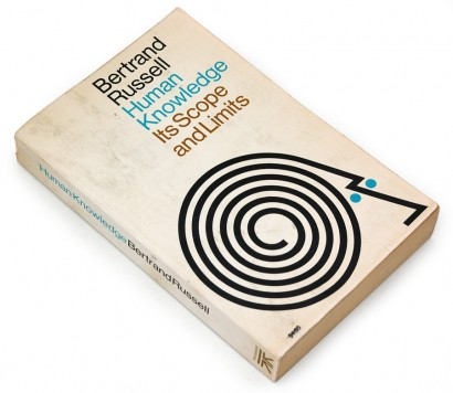 human knowledge its scope and limits, 1976, bertrand russel, psychology, john and mary condon, 70s design, seventies graphics, vintage book cover, abstract head, maze, spiral