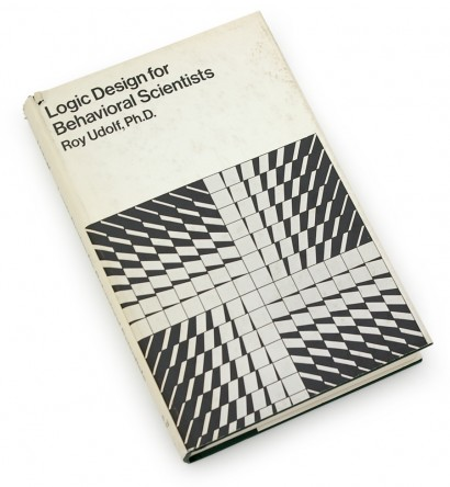 logic design for behavioral scientists, science, psychology, 1973, 70s graphics, seventies design, jacket, abstract, op art