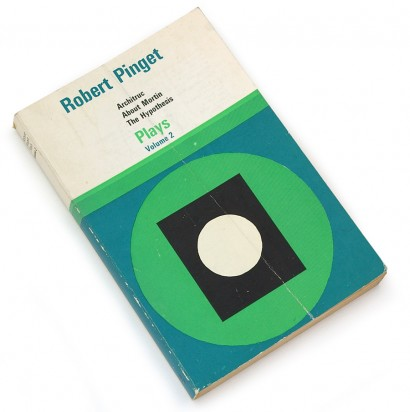 robert pinget, plays, drama, british, geometric, abstract, 60s design, sixties graphic book cover, green, blue, black, univers condensed