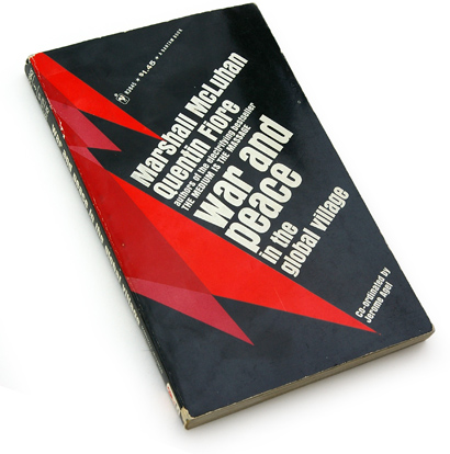 marshall mcluhan, quentin fiore, jerome agel, war and peace in the global village, 1968, 60s graphics, 60s book cover design, abstract