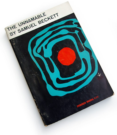 50s graphic design, abstract book covers, roy kuhlman, samuel beckett, the unnamable, evergreen originals, grove press, 1958, book cover design