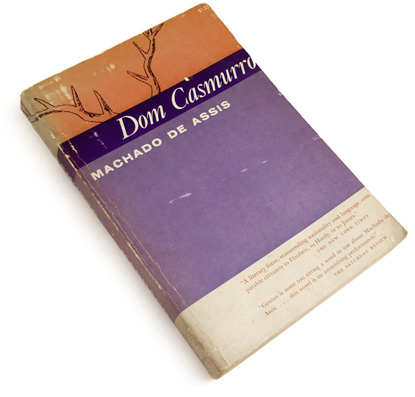 50s book cover design, fifties graphic design, dom casmurro, machado de assis, purple, sidney solomon