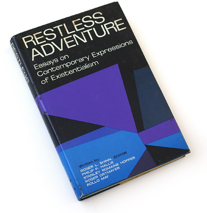 60s abstract graphics, sixties book cover design, ronald clyne, existentialism, scribners, roger l shinn, philip p hallie, stanley romaine hopper, roger ortmayer, rollo may, purple, blue