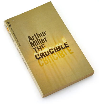 the crucible cover from the 60s, sixties graphic design books, sixties book cover design, photographic typography, physical type, burning type