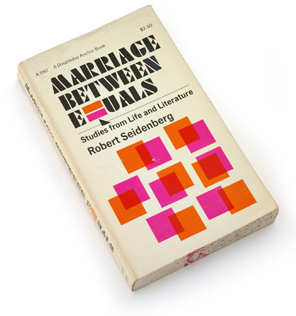 70s book design, seventies abstract graphic design, mass market paperback 1973, marriage, psychology, overprinting, magenta, 70s type, husband and wife designers