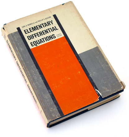 elementary differential equations, bedient, math textbook, 60s textbook, 1960s jacket design