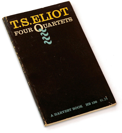 four quartets, t.s. eliot, ellen raskin, typographic book cover, 70s design, seventies typography