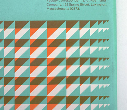 overprinting, orange and green, triangle pattern, book cover design 70s, seventies graphics