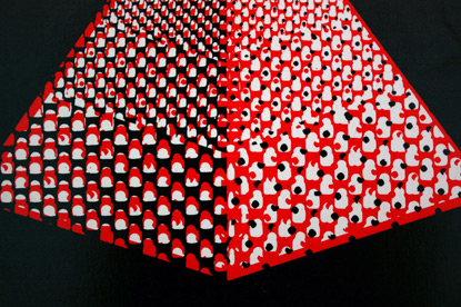 abstract pyramid illustration, halftone, 60s design, 1960s book cover design, red and black